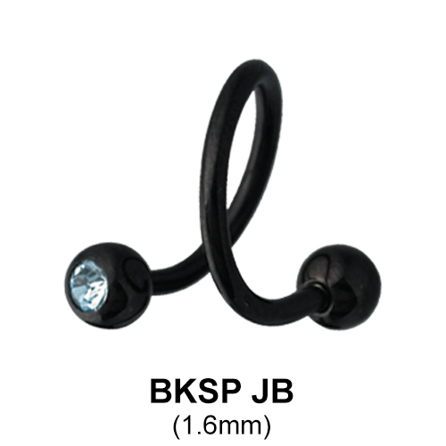 Basic Black Spiral with Crystal Jeweled Ball BKSPJB