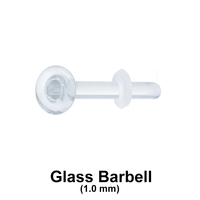 1 mm Glass Piercing Straight Bar with Clear O-ring
