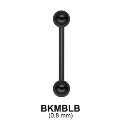 0.8 mm Black Plate Straight Barbell balls with threading 1.0 mm BKMBLB