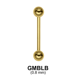 0.8 mm Gold Plate Straight Barbell balls with threading 1.0 mm GPMBLB