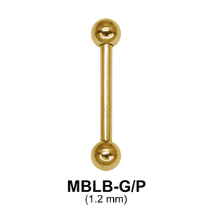 Gold Plated 1.2mm Straight Barbells ball GMBLB