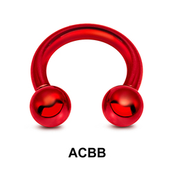 Red Surgical Steel Circular Barbell Ball ACBB