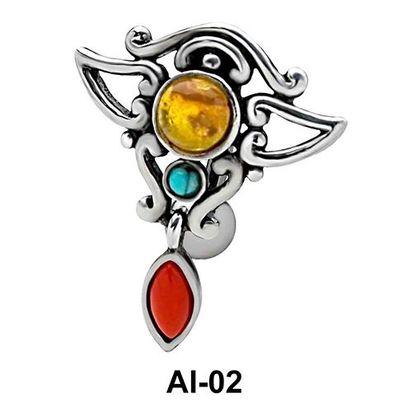 Extraordinary Design Upper Belly Piercing AI-02