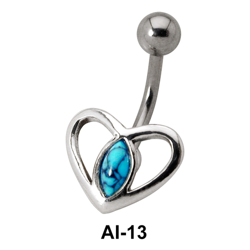 Dual Heart Stone Belly Piercing AI-13
