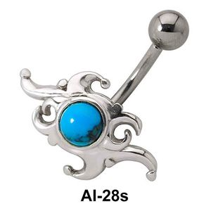 Stone Set Dramatic Design Belly Piercing AI-28s