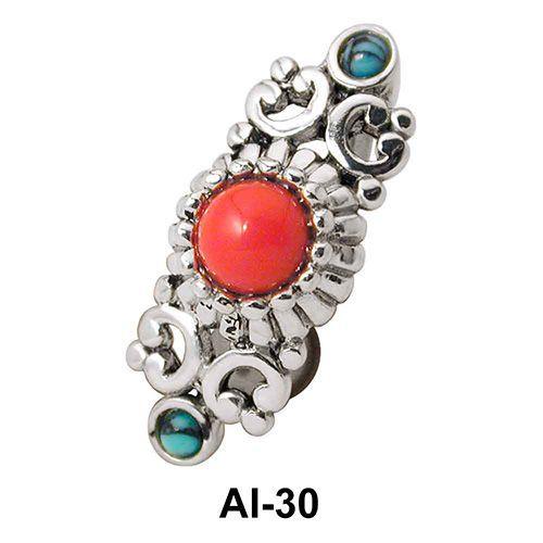 Stone Set Upper Belly Piercing AI-30