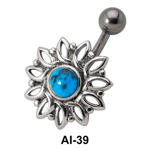 Stone Set Flower Belly Piercing AI-39