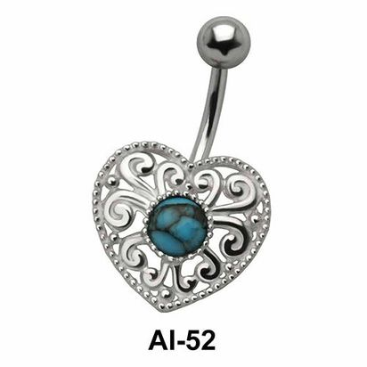 Heart Stone Belly Filigree Piercing AI-52