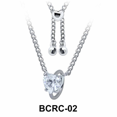Heart CZ Closure Rings Belly Piercing Chains BCRC-02