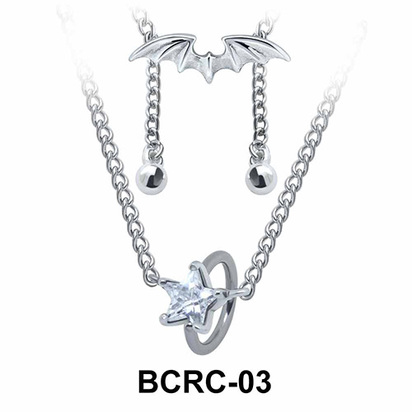 Star CZ Closure Rings Belly Piercing Chains BCRC-03