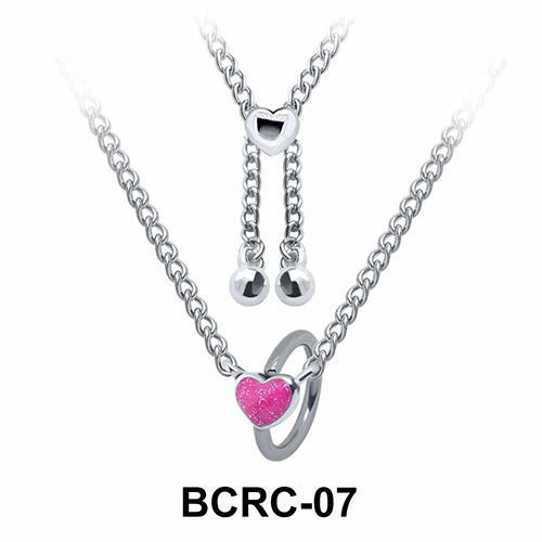 Enamel Heart Closure Rings Belly Piercing Chains BCRC-07