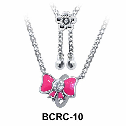 Enamel Bow Closure Rings Belly Piercing Chains BCRC-10