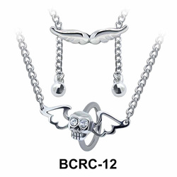 Skull Wings Closure Rings Belly Piercing Chains BCRC-12