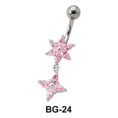Star Shaped Pink Belly Piercing BG-24