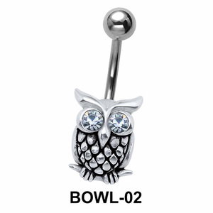 Stone Set Owl Belly Piercing BOWL-02