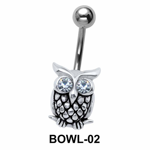 Stone Set Owl Belly Piercing BOWL-02
