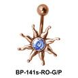 Stone Set Sunrays Belly Piercing BP-141s