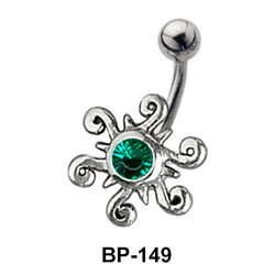 Attractive Multistone Flower Belly Piercing BP-149