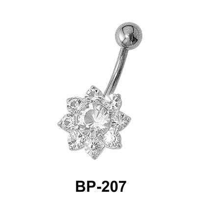 Flower fashioned Belly CZ Crystal BP-207