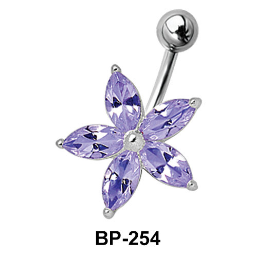 Flower Shaped Belly CZ Crystal BP-254