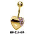 Stone Studded Heart Belly Piercing BP-921