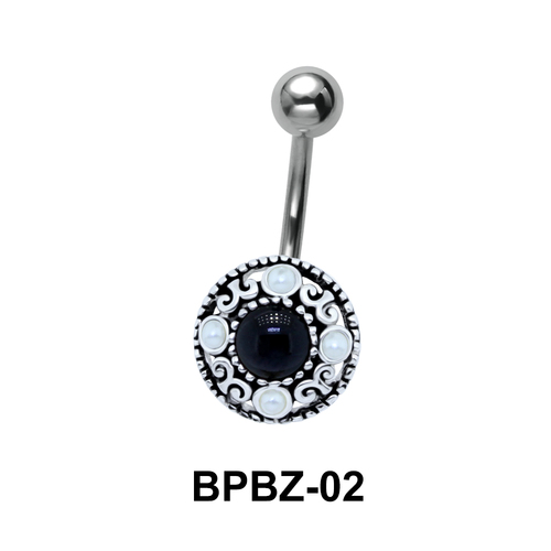 Traditionally Designed Stone Studded Belly Piercing BPBZ-02