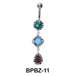 Beautifully Patterned Stone Studded Belly Ring BPBZ-11