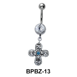 Cross Shaped Belly Piercing BPBZ-13