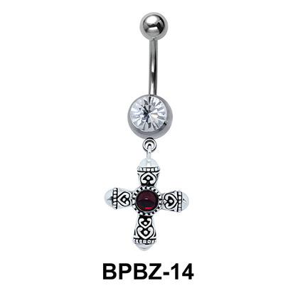 Designer Cross Belly Piercing with Stone BPBZ-14