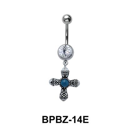 Designer Cross Belly Piercing BPBZ-14E