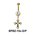 Stone Studded Cross Shaped Belly Piercing BPBZ-15s