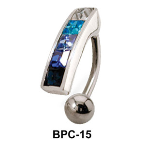 Multistone Upper Belly Piercing BPC-15