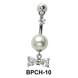 Belly Piercing with Pearl and Tiny Star BPCH-10