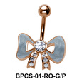 Stone Studded Bow Belly Classic Stone BPCS-01