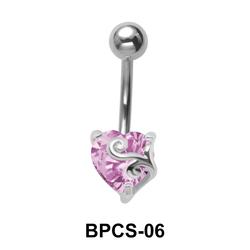 Heart Cut CZ Belly Piercing BPCS-06