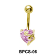 Heart Cut CZ Belly Piercing BPCS-06