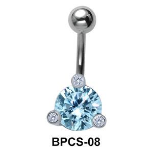 Blue Round Stone Belly Piercing BPCS-08