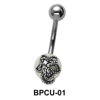 Belly Pearl with Flower Motive BPCU-01