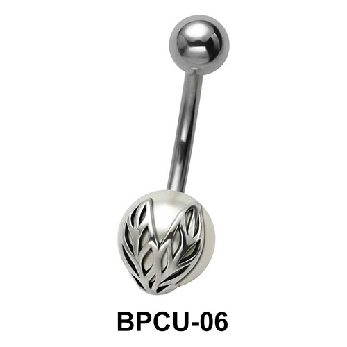 Belly Pearl with Two Leaves Motif BPCU-06