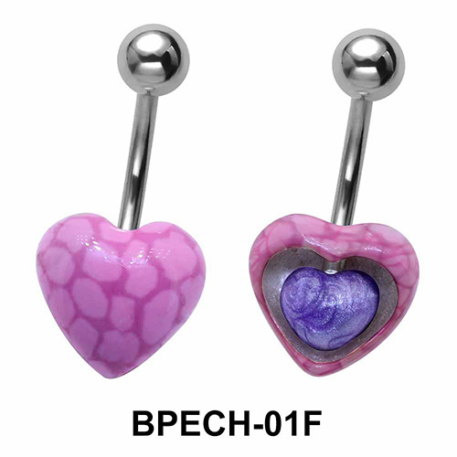 Stone Encrusted Heart Belly Piercing BPECH-01F