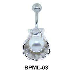 Pearl in Shell Shaped Underwater Belly Ring BPML-03
