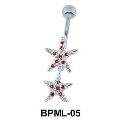 Shining Dual Star Belly Button Ring BPML-05