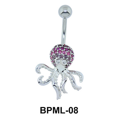 Fascinating Stone Encrusted Octopus Belly Piercing BPML-08
