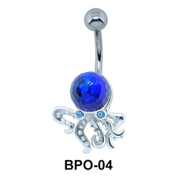 Blue Octopus with Stone Belly Button Ring BPO-04