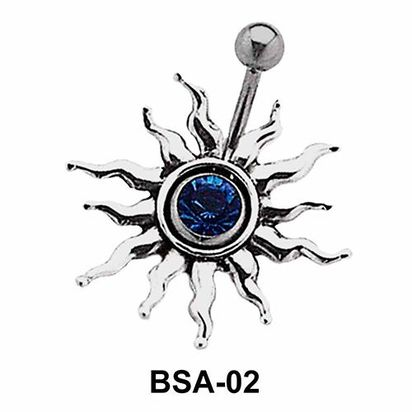 Stone Set Sunrays Belly Piercing BSA-02