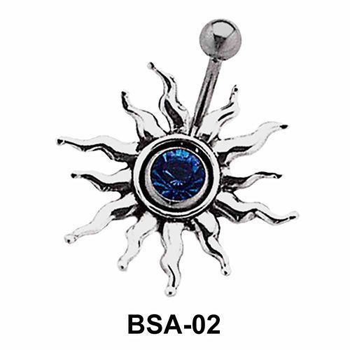 Stone Set Sunrays Belly Piercing BSA-02
