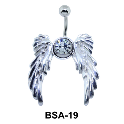 Stone Set wings Belly Piercing BSA-19