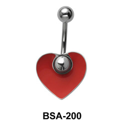 Heart Enameled Belly Piercing BSA-200
