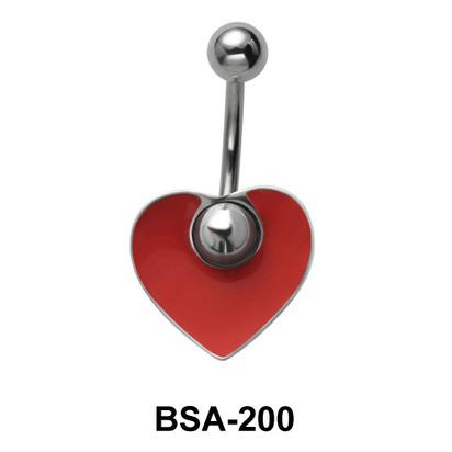 Heart Enameled Belly Piercing BSA-200