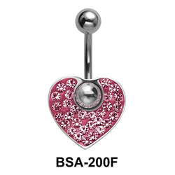Pink Heart Belly Rainbow Piercing BSA-200F
